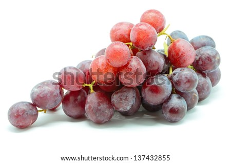 Ripe grapes isolated on a white background - stock photo