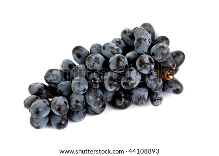 Ripe grapes on a white background