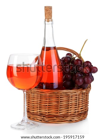 Ripe grapes, wine glass and bottle of wine isolated on white - stock photo
