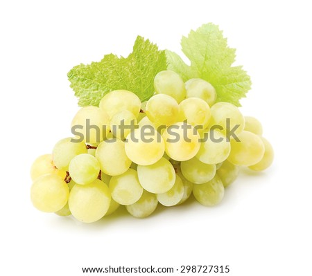 Ripe grapes with leaves close up on white background . - stock photo