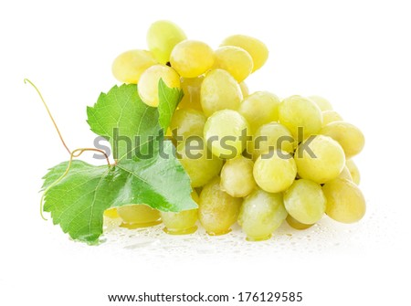 Ripe grapes with leaves isolated on white background - stock photo