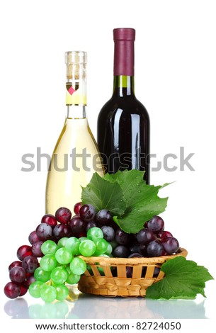 ripe green and red grapes in basket and wine isolated on white - stock photo