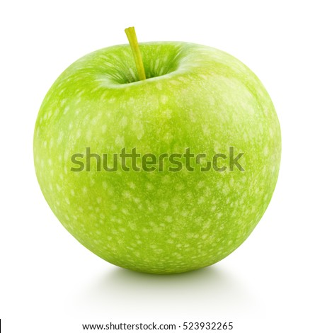 Ripe green apple fruit isolated on white background. Green apple fruit with clipping path