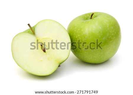 Ripe green apple with half isolated on white background