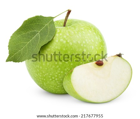 Ripe green apple with leaf and slice isolated on a white background with clipping path - stock photo
