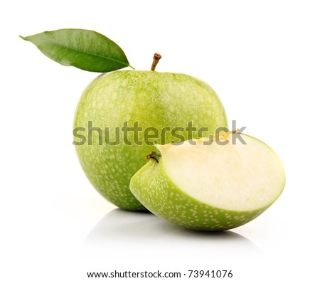 Ripe green apple with slices isolated on white background - stock photo