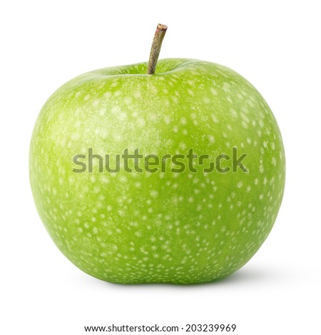 Ripe green apples isolated on a white background with clipping path - stock photo