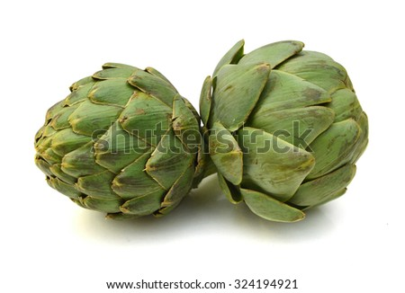 Ripe green artichokes isolated on white background  - stock photo