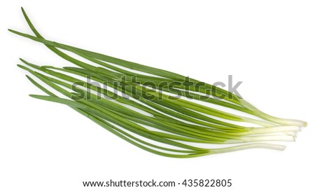 Ripe green spring onions isolated on a white background. - stock photo