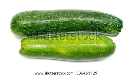 ripe green zucchini on a white background - stock photo