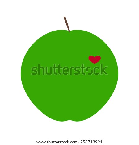 Ripe juicy green apple with red heart isolated on white background. Logo template, design element for postcard, invitation, label in flat style - stock photo