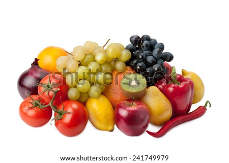 ripe, juicy, healthy fruits and vegetables - stock photo