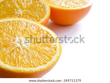 Ripe Juicy Orange Slices Isolated on the White Background - stock photo