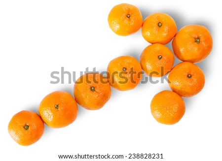 Ripe Juicy Orange Tangerine Lined As A Arrow Isolated On White Background - stock photo