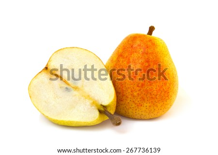 Ripe juicy pears on white background - stock photo