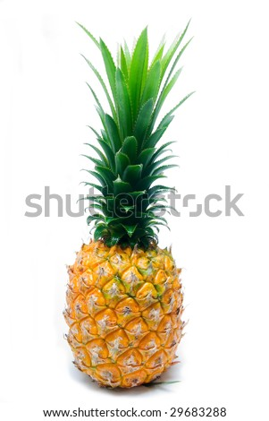 ripe juicy pineapple isolated on white background