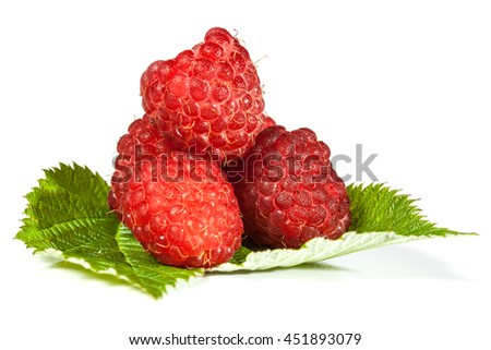 ripe juicy raspberries isolated on a white background