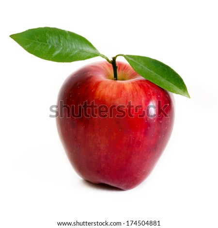 Ripe juicy red apple isolated on white background