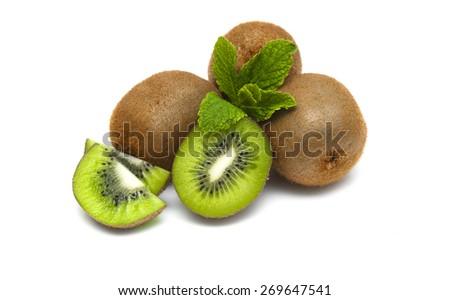 Ripe kiwi fruit isolated on white background - stock photo