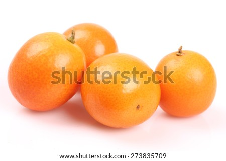 ripe kumquat fruits, isolated on white background - stock photo