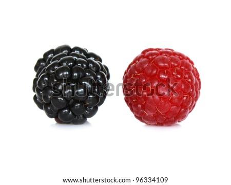 Ripe large blackberry and raspberry isolated on white background - stock photo