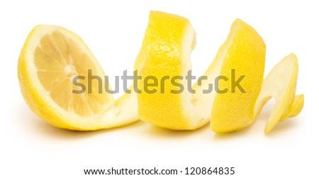 ripe lemon twist isolated on white - stock photo
