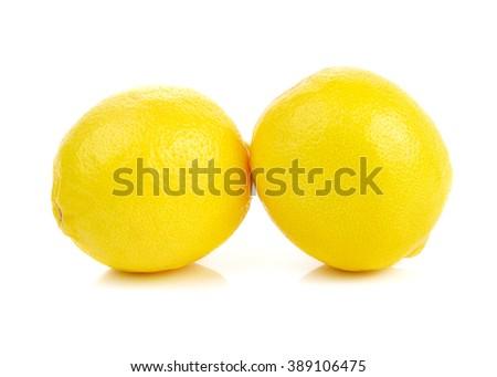 Ripe lemons isolated on white background - stock photo