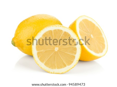 Ripe lemons. Isolated on white background