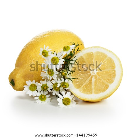 Ripe lemons with beautiful fresh chamomile flowers on white background