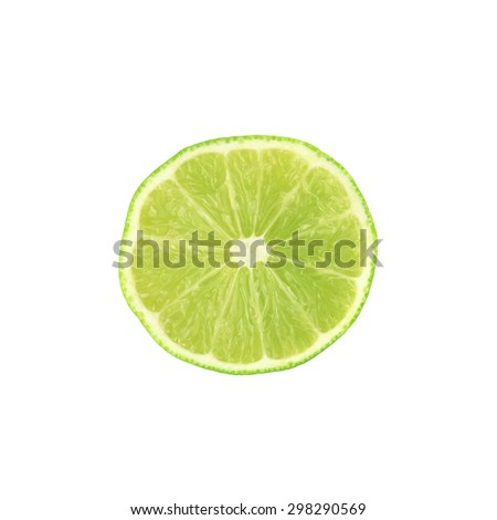 Ripe lime cut in half isolated over the white background, top view - stock photo