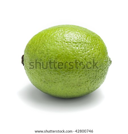 Ripe lime isolation on white. Shallow DOF.