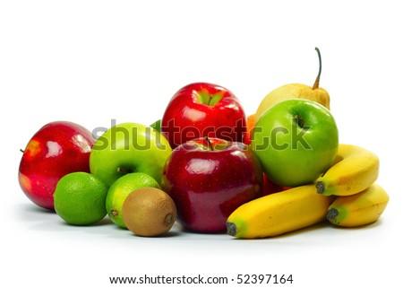 Ripe lush fruits over white background - stock photo