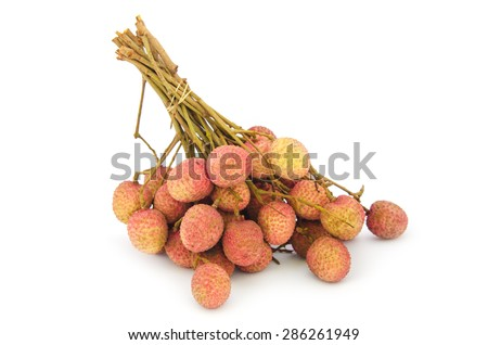 Ripe lychee (Litchi chinensis) on white background, the favorite fruit in Thailand - stock photo