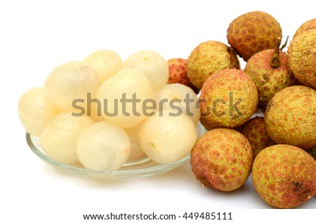 Ripe lychees fruits isolated on white background