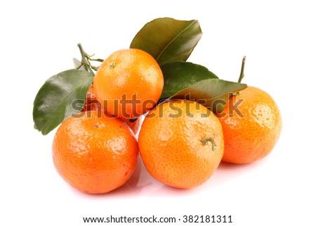 Ripe mandarin citrus isolated tangerine mandarin orange on white background. - stock photo