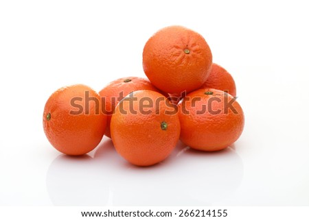 Ripe mandarin citrus isolated tangerine mandarine orange on white background - stock photo