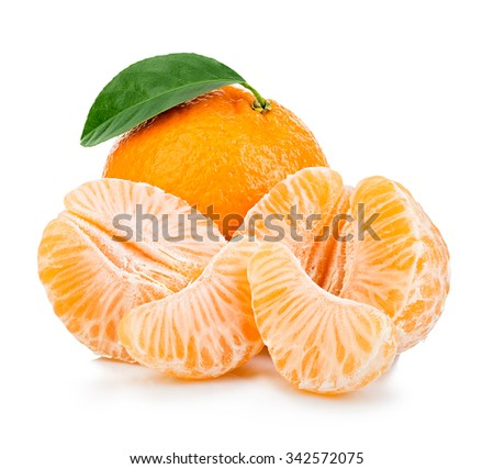 Ripe mandarin with leaf close-up on a white background. Tangerine orange with leaf on a white background. - stock photo