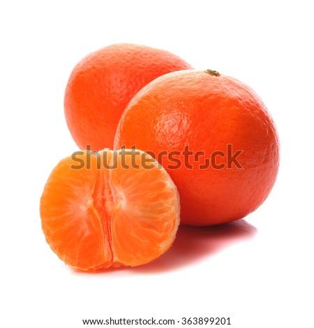Ripe mandarins isolated  on white background - stock photo