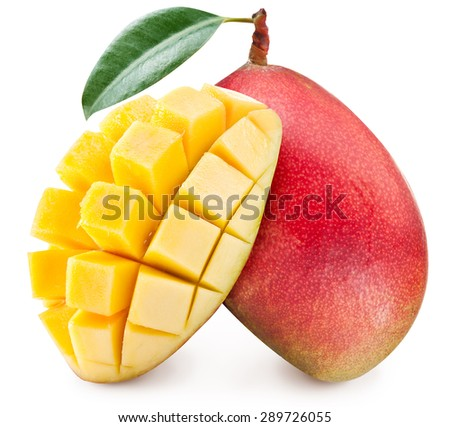 Ripe mango fruit. File contains clipping paths. - stock photo