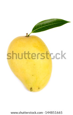 Ripe mango fruit isolated on white - stock photo