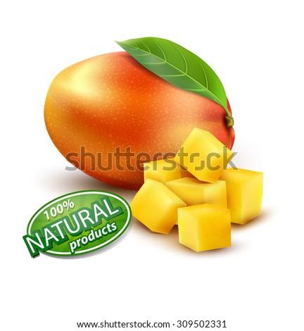 ripe mango fruit with slices, on a white background - stock photo