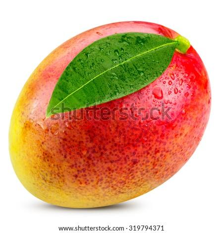 Ripe mango isolated on white Clipping Path  - stock photo