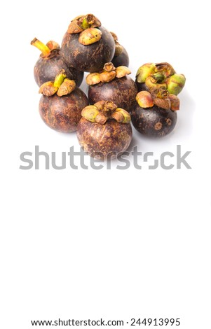 Ripe mangosteen fruit over white background