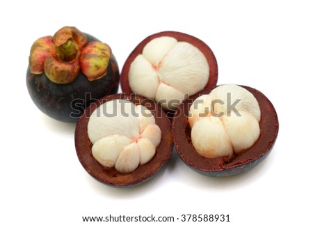 Ripe Mangosteen fruits isolated on the white background