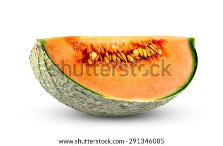 Ripe Melon Cantaloupe Fresh Juicy slice isolated on white background - stock photo