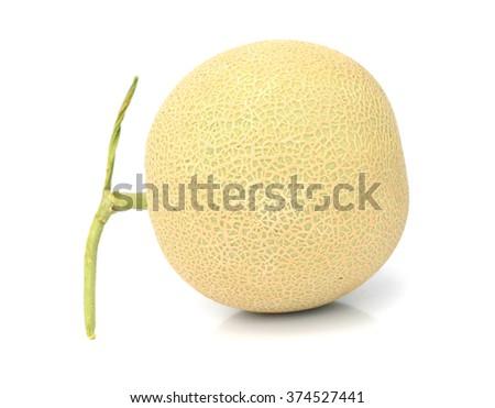 Ripe Melon Cantaloupe, Galia isolated on white background. - stock photo