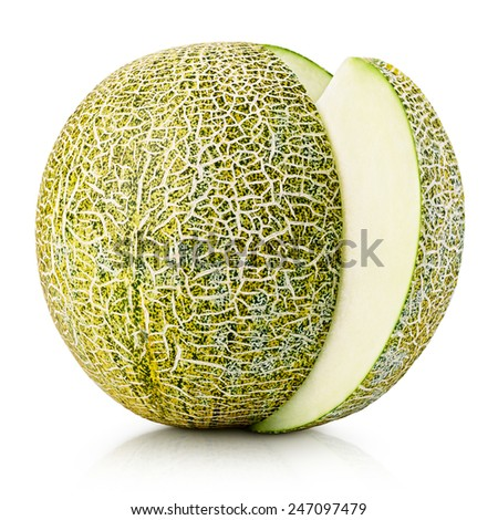 Ripe melon with slice isolated on white background with clipping path - stock photo