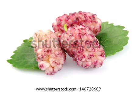 Ripe mulberry with leaves on a white background - stock photo