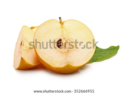 Ripe Nashi pear studio isolated on white background - stock photo