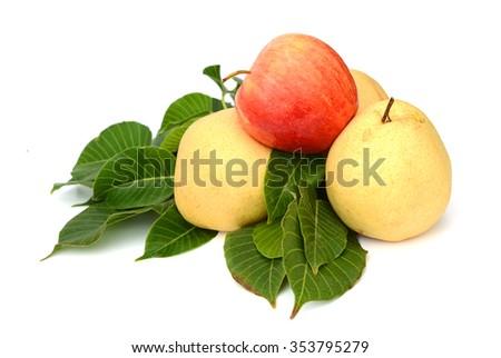Ripe Nashi pear studio isolated on white background. - stock photo